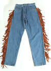 Vintage Leather Fringe High Waisted Denim Jeans Size 31x 30