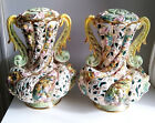 VTG CAPODIMONTE ITALY CHERUBS PUTTI FIGURAL HANDLE LAMPS LAMP BASES PAIR