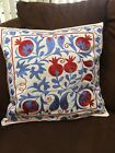BEUTIFUL UZBEK VINTAGE HANDMADE MULTI EMBROIDERY SUZANI PILLOW CASE