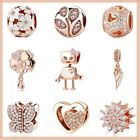 Authentic 925 sterling silver suits Charm Pandora Beats Family Love Rose Gold