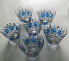 Six Vintage Gold and Blue Design 8 Ounce Fancy Drinking Glasses