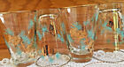 Set of 4 Vtg.Libbey 8 oz.V-Shape Flat Glass Tumblers-Aqua/Gold-Pine Cone Design