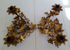 Antique Italian ? Tole Double Candle Holders Ivy Ornate Gold Patina Pair Shabby