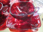 Vintage Charm 4 Cups 4 Saucers Ruby Red Anchor Hocking Glassware #ES4