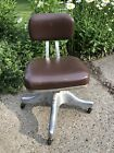 Vintage SHAW WALKER Brown leather and aluminum swivel adjusable office chair
