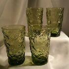 4 Vintage Anchor Hocking Green Lido Milano Bumpy Crinkle Drinking Juice Glasses