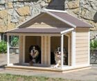 Dog House Extra Large Wood Insulated Duplex Pet Covered Porch Asphalt Roof