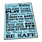 Pool Rules Metal Sign Wall Decor for Porch Patio or Deck