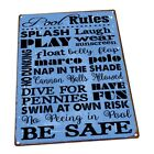 Blue Pool Rules Metal Sign Wall Decor for Porch Patio or Deck