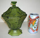 Anchor Hocking Green Covered Candy Dish 8 Panel Grape and Leaves Octagon Compote