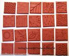 20 Unmounted Deep Etched Texture Rubber Art Stamp Designs 4 Paper Clay Fabric