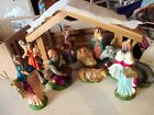 VINTAGE CHRISTMAS NATIVITY FIGURINES MANGER CRECHE 9 PIECE HAND PAINTED ITALY