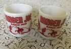 Pair*Vintage Hazel Atlas Red Ranger Joe * Ranch Mug Milk Glass Hot Chocolate Cup
