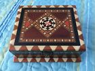 Lovely Vintage Inlaid Marquetry Wooden Red Felt Lined Box Hinged Latched