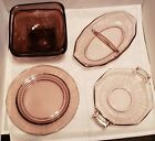 Lot of Vintage Amethyst and Lavendar serving bowls bowls and plates - 5 pieces