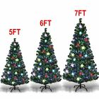 Pre Lit 6 7 Green Artificial Christmas Pine Tree with Muti Color Lights Stand