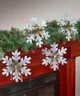 SET OF 4 OVERSIZED SNOWFLAKE ORNAMENTS FARMHOUSE COUNTRY CHRISTMAS HOLIDAY DECOR