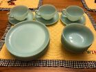 Fire King Turquoise Anchor Hocking Lot 18 Pcs. Bread Plate Fruit Cups Saucers