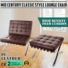 Mid Century Classic Style Leather Lounge Chair Comfortable Hand Buffed Cushion