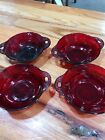 Vintage Anchor Hocking Glass Royal Ruby Red Coronation Berry Bowls Set 4 G3