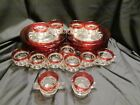 Kings Crown Ruby Red Flashed Thumb Print Snack Plates, Cups, Creamer and Sugar