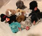 TY BEANIE BABIES LOT 10 DOGS Smudges Frisbee Snocap Frolic Seadog Scrappy Gigi