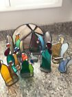 Beautiful 11 Piece Stained Glass Nativity Creche Scene By Ken Toney 1980