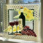 PEGGY KARR Art Glass 10 Square Wine and Cheese Grapes Plate Platter Signed