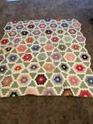 Antique Hand Quilted Grandmothers Flower Garden Quilt 70x72 1930s-1940s