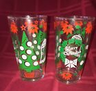 Set of 2 VINTAGE HAZEL ATLAS Merry Christmas Happy New Year Glass Tumbler