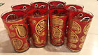 Set of 8 Vintage Culver Highball Glasses 22K Gold Red Paisley Mid Century Modern