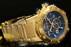 Invicta Speedway XL VIPER RondaZ60 Movt TEAL Blue Dial 18K Gold Plated SS Watch