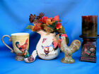 ESTATE LOT 5 Country Kitchen Rooster Figurines Chicken Vase Hen Cup