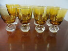 Vintage Set (8) Amber Clear Air Bubble Globe Base Cordial Glasses Wine Glass 4