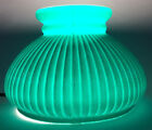 New 7 Dark Green Painted Over Opal Ribbed Student Glass Lamp Shade USA7S617