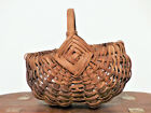 Antique PA CHILD SIZE Small BUTTOCKS Splint EGG BASKET Hand Carved Handle