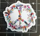 PEACE SIGN of FLOWERS 45 Die Cut Sticker Floral Gypsy Hippie Decal