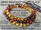 EXCLUSIVE GENUINE BALTIC AMBER WRAP BRACELET OR NECKLACE RAINBOW FREE POST