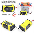 US Version 12V 5A Motorcycle Car Battery Lead Acid Storage Charger w/LCD Display