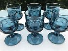 Indiana Glass KINGS CROWN THUMBPRINT Footed Cordial SMOKE TEAL BLUE Set Of 6