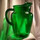 Anchor Hocking Green Pitcher Emerald Forest Vintage Ice Lip 9