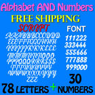 LETTERS and NUMBERS PACK SCRIPT FONT 3 4 1 15 2 25 3 FREE SHIP STICKERS