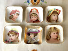 Lovely Set of Six Victorian Girl Butter Pats Teabag Holder Antique