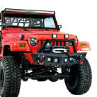 Rock Crawler Front Bumper+Winch Plate+4x LED Light for 97 06 Jeep Wrangler TJ
