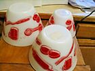 SET OF 3 VINTAGE ANCHOR HOCKING RED AND WHITE KITCHEN UTENSIL PATTERN MIXING BOW