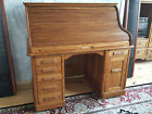 Rare Antique Roll Top Desk Solid Oak Quarter Sawn Wooten Style Pullout ca. 1890