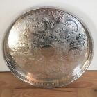 Round Silver Plated On Copper Galleried Butlers Champagne Tray Sheffield 12 Inch