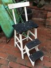 Vintage Farmhouse Wood 2 Step Country Kitchen Stool - Very Good - Great Look !!!