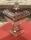 Vintage Indiana Glass Ruby Red Flash Square Compote Covered Candy Dish