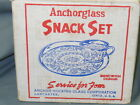 vtg. ANCHOR HOCKING Sandwich Design 8 Pcs SNACK SET Anchorglass NOS w/ orig. Box